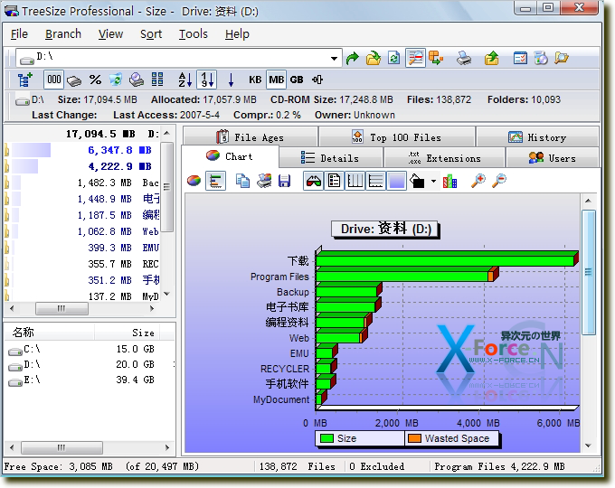 TreeSize硬盘空间统计管理工具-让空间占用一目了然