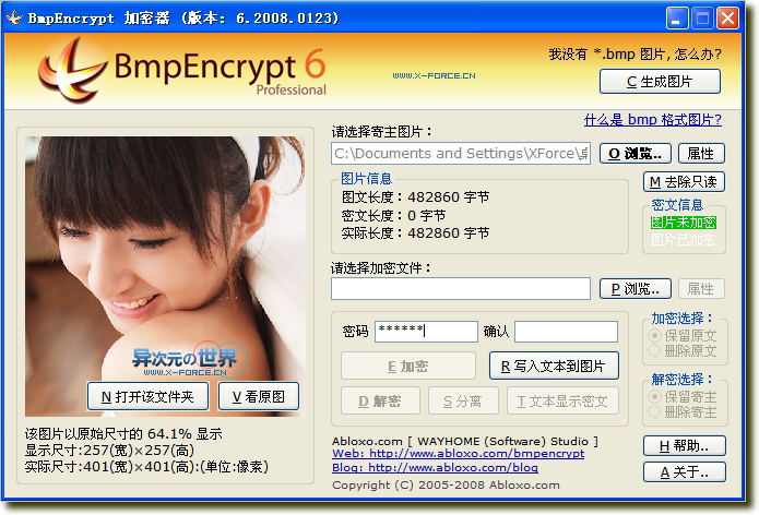 BmpEncrypt 绿色版-能将秘密文件藏在图片里的免费加密软件 (仅130K)