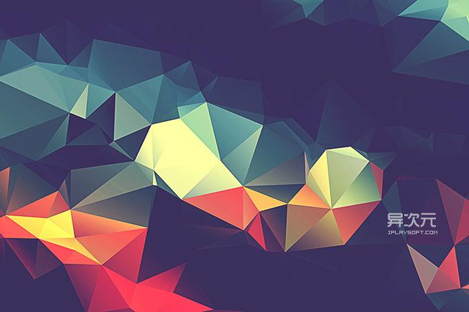 多彩三角色块壁纸