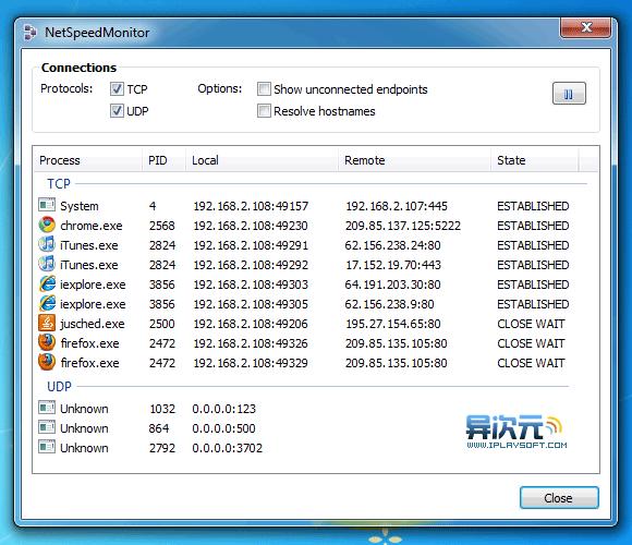 列出电脑上全部TCP/UDP连接网络的程序