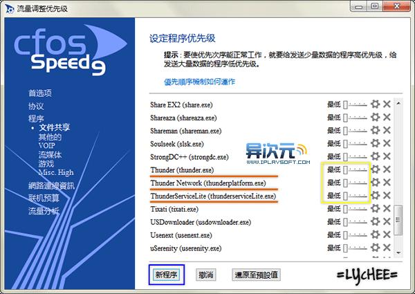 cFosSpeed 网络优先度