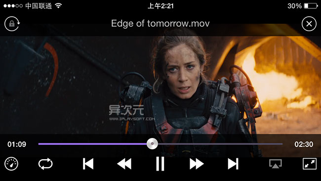 KMPlayer iOS 播放电影界面