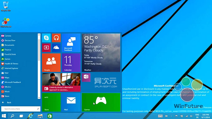 Windows 9 开始菜单